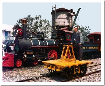 Walt Disney, the Kalamazoo hand car and the #2 E. P. Ripley locomotive - www.DaveTavres.com