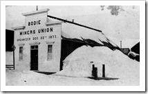 Bodie Miners' Union Hall, winter 1881 - www.Bodie.com