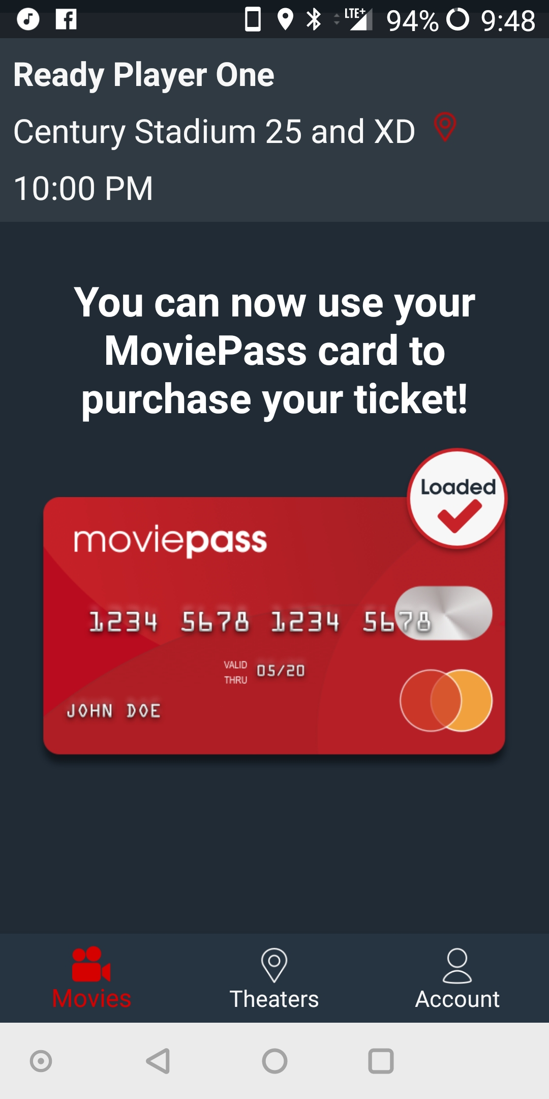 MoviePass card loaded | DaveTavres.com