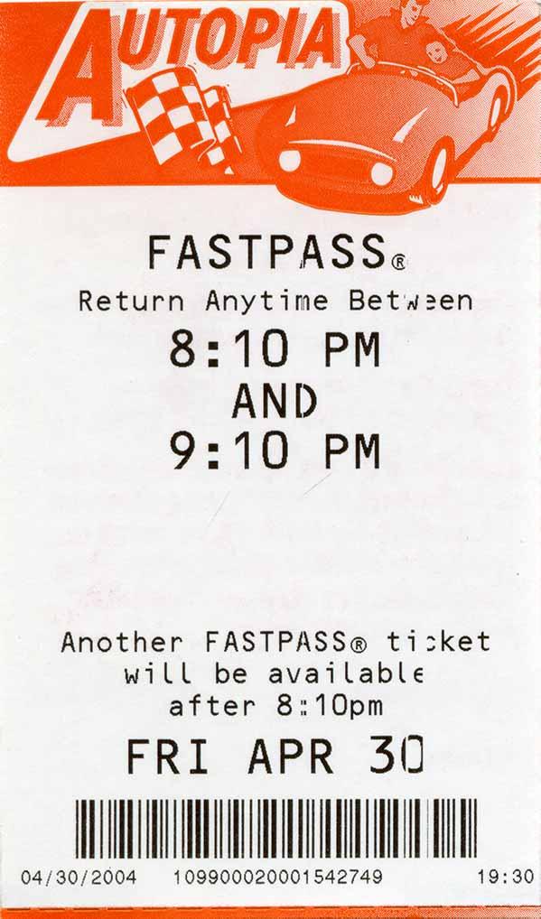 Autopia Fast Pass 2004 | DaveTavres.com