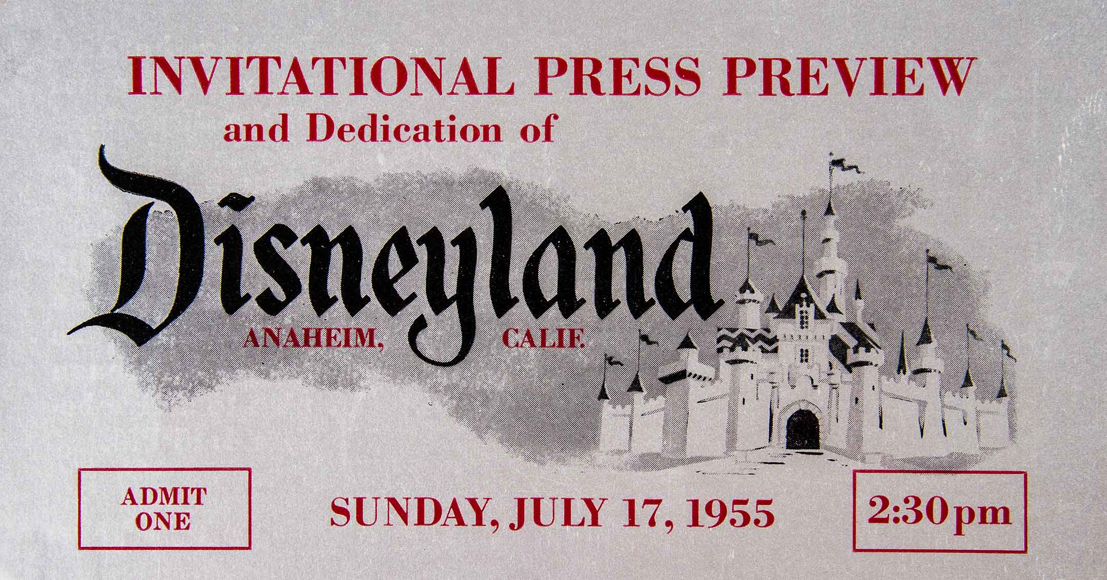 Disneyland Opening Day Ticket | DaveTavres.com