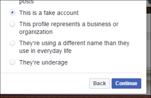"Choose ""This is a fake account"", and click Continue 